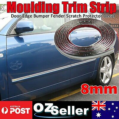 Chrome Moulding Trim Strip 8MM Car Door Edge Scratch Protector Guard Cover 6M