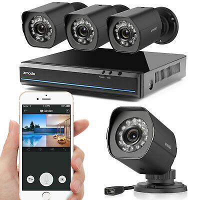 ZMODO 8CH NVR HD 720p Indoor/Outdoor Home Camera Security No HDD W