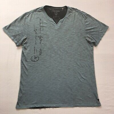 6de2a4123e GUESS MEN BLUE and gray striped shirt v-neck size L Embroidered Logo ...