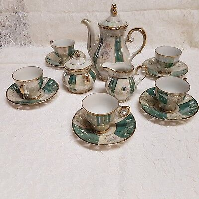 NEW in box. Retro vintage 1970s Lustre ware coffee tea set. Made in Japan 17 pce