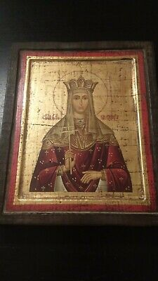 Antique19th century Russian Orthodox Hand Painted Icon Gold Saints Jesus