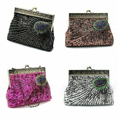 Womens Sequin Hand Clutch Bag Wedding Party Birthday - Black Brown Pink Silver