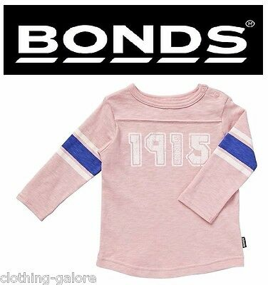 Bonds Baby Kids Girls Boys Long Sleeve Rugby Tee Jumper Warm Pink Top Size 0