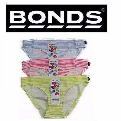 New Girls Kids Bonds Tops&Tails Briefs Cotton Underwear Undies Pink Yellow Blue