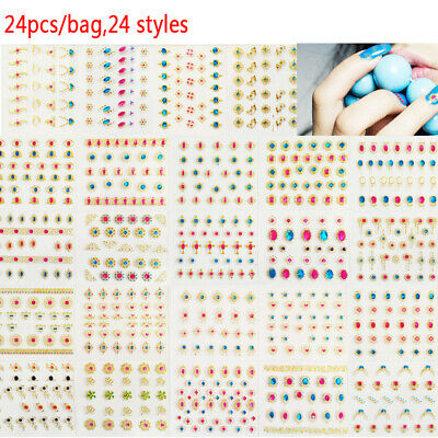24Pcs/Lot 3D Designs Nail Art Stickers Manicure Stamping Decals DIY DecoratioEO