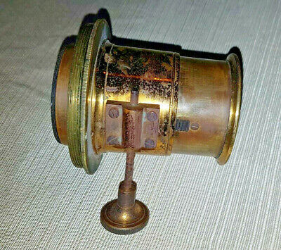 Antique Victorian Era Brass PETZVAL Photography Lens possibly 10 inch.