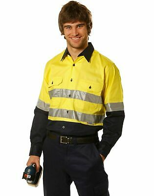 Mens Cool-Breeze Safety Work Factory Tradie High Hi Vis Fluro Reflective Shirt
