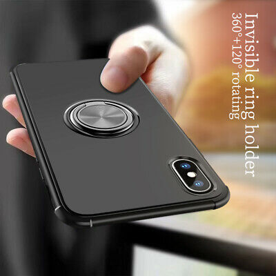 For iPhone XS Max XR 8 7 6S Hybrid Bumper Magnetic Ring Holder Stand Case Cover