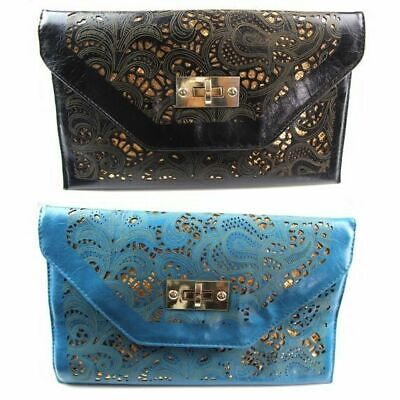 Womens Cut Out Rectangle Envelope Clutch Black Blue Gold Wedding Party Bag