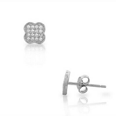Sterling Silver White Crystals CZ Clover Flower Small Womens Girls Stud Earrings