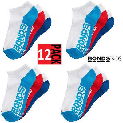 *CHEAP* 12 PAIRS BONDS KIDS SOCKS Boys Girls Low Cut Sports White Red Blue Navy