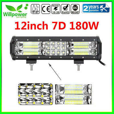 7D 12inch 180W Tri Row Led Work Light Bar for Jeep Truck Car Off road SUV Ford
