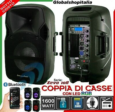 COPPIA DI CASSE AMPLIFICATE 1600W USB SD Mp3 Bluetooth WIRELESS Radio KARAOKE