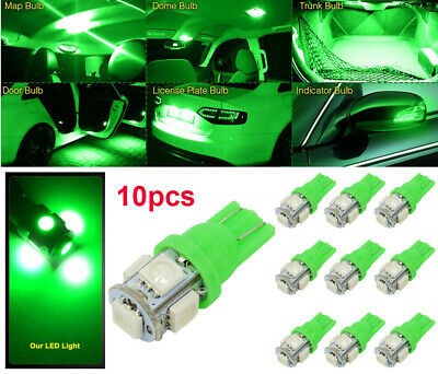 10PCS New T10 Green LED 194 168 SMD W5W Car Wedge Side light Bulb lamp DC 12V