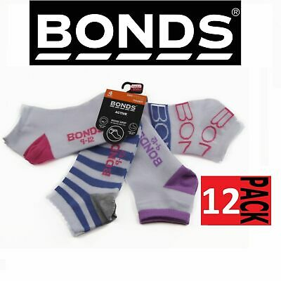 12 PAIR BONDS KIDS ACTIVE INVISI GRIP SOCKS White Pink Girls Low Cut 5-8 years