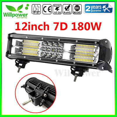 7D 12inch 180W Tri Row Led Work Light Bar for Jeep Truck Car Off road SUV 4WD