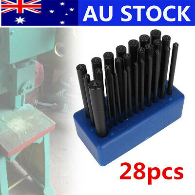 "28Pcs Transfer Punch Set Professional Machinist Thread Tool Kit 3/32 to 1/2"" AU"
