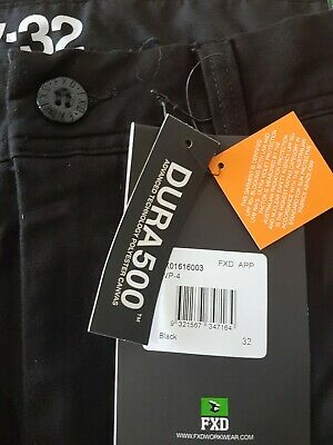 FXD Work Pants WP-4,  BLACK - With Elastic Cuffs - Size 32- Very Good Condition