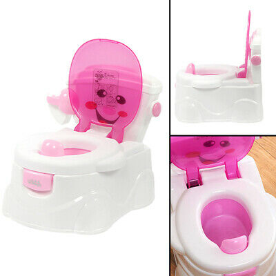 2 in 1 pink Child Toddler Potty Training Seat Baby Kid Fun Toilet Trainer Chair