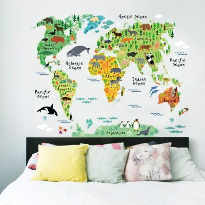 Colorful Animal World Map Wall Stickers PVC Decal Mural Art Home Decorations