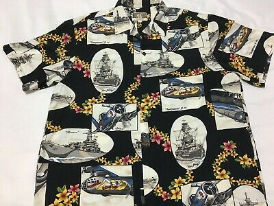 aadae6f9 Vtg KALAHEO Mens XL Pearl Harbor B29 Bombers Ships Warplanes HAWAIIAN Shirt  USA