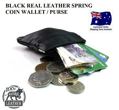SNAP MENS LADIES BLACK REAL LEATHER COIN change POUCH WALLET PURSE spring pocket