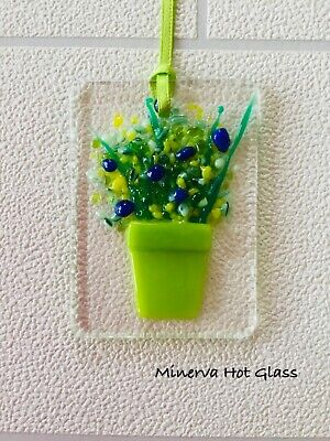 Fused Glass, Sun Catcher, Light Catcher, Green Plant Pot with Flowers