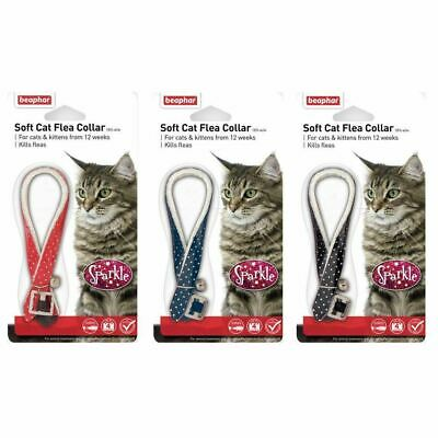 Beaphar Sparkle Reflective Cat Kitten Flea Collar 4 Months Blue Black Red