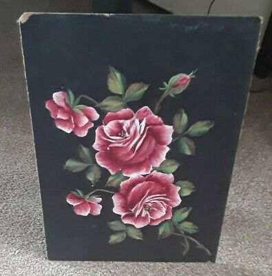 Antique victorian floral Oil On  Board