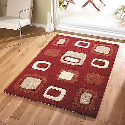 Modern Small Large Soft Thick Non Shed Red Cream Box Block Quality Sale Rugs