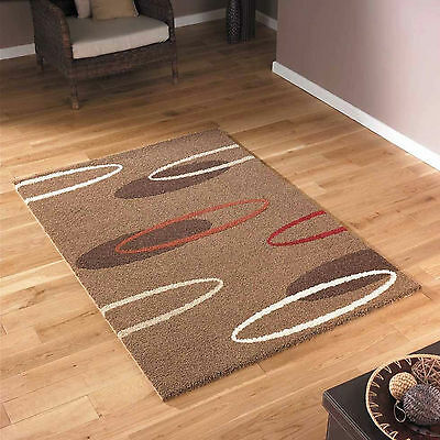 Modern Small To Large Thick Soft - Beige Brown Cream Red Oval Design Quality Rug