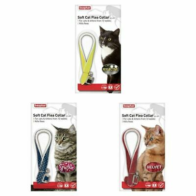 Beaphar Soft Cat Flea Collar - Reflective,Velvet,Sparkle (Red,Black,Blue,Yellow)