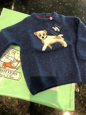 Trotters Blue Puppy Jumper. Young Prince Louis First Birthday 6-12 Months BNWT