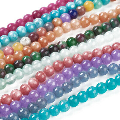 Natural White Jade Bead Dyed Round Loose Spacer Beads Mixed Color Jewelry Making