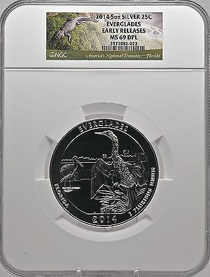 2014 5oz SILVER 25C Everglades NGC MS 69DPL Proof like Early Releases must see!