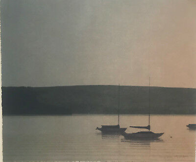 RUSSELL CHATHAM, Original lithograph, Still Evening at Tomales Bay, S/N/D