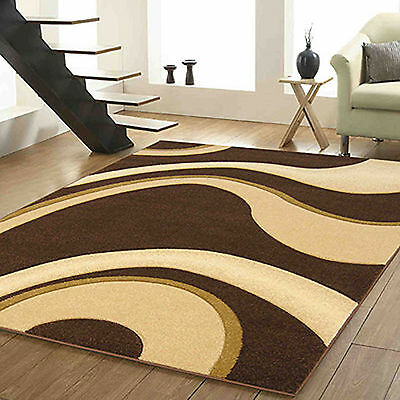 Brown Beige Small Large Wave Carved Rug 12Mm Thick Modern Quality Soft Sale Rugs