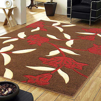 Brown Red Small Large Jasmine Floral Carved Rug 12mm Thick Modern Quality Rugs