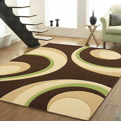 Small X Large Modern Carved 12Mm Thick Brown Green Geometric Quality Sale Rug