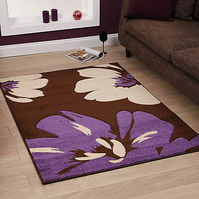 High Quality Brown Purple 12mm Thick Large Floral Jasmine Carved Modern Sale Rug