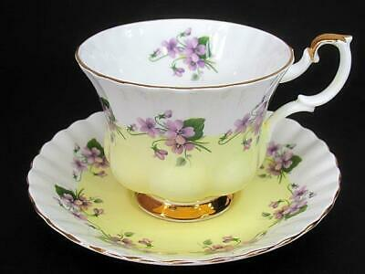 Royal Albert Tea Teacup Cup & Saucer c1960's Purple Violets Pale Yellow