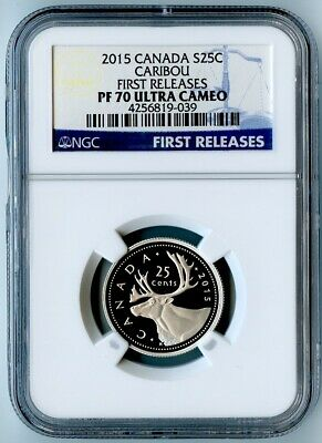 2015 Canada Ngc First Releases Pf70 Ucam Silver Caribou S25C! None On E-Bay!