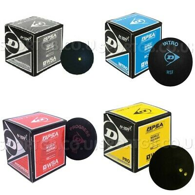 3x Dunlop Pro Squash Balls Double Yellow Dot Intro Blue Red Progress Competition