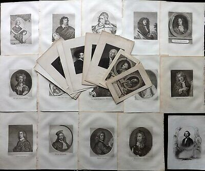 Portraits 18th-19th Century Lot of 24 Engravings. British,Europeans. Book Plates