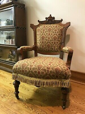 Eastlake Antique Victorian Throne/Armchair - Reupholstered (Gold)