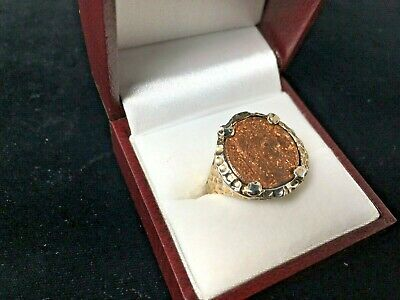 Gold Plated 925 Silver Ancient Roman Coin of Emperor Constantine the Great Ring