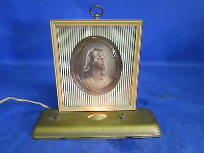 Vintage Plak-Lite Portable Lamp Jesus Photo Wind-Up and Plays a Tune..... Tune U