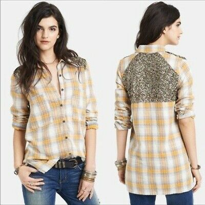Free People Little Bit of Sugar Flannel & Sequin Plaid Button Down Shirt Small