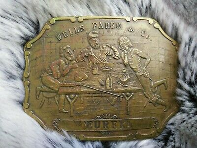 Nice Vintage Brass Wells Fargo & Co Eureka Belt Buckle