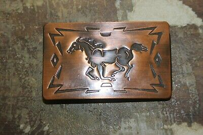 Vintage Chambers Belt Co.Copper Horse Belt Buckle Made in USA Southwestern Look